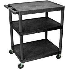 3 Large Shelf High Open Shelf Mobile A/V Utility Cart - Black - 32
