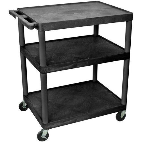 Our 3 Large Shelf High Open Shelf Mobile A/V Utility Cart - Black - 32