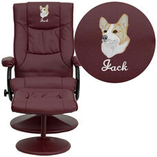Embroidered Contemporary Multi-Position Recliner and Ottoman with Wrapped Base in Burgundy Leather