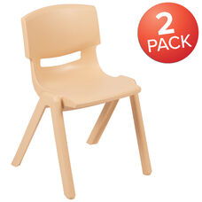 """2 Pack Natural Plastic Stackable School Chair with 13.25"""" Seat Height"""