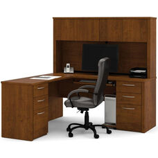 Embassy L-Shaped Workstation Kit with 4 Utility Drawers and 2 Filing Drawers - Tuscany Brown