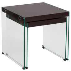 Wynwood Collection Dark Ash Wood Grain Finish Nesting Tables with Glass Frame