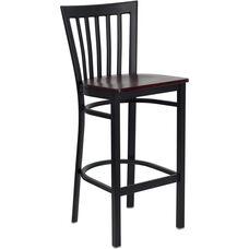 Black School House Back Metal Restaurant Barstool with Mahogany Wood Seat