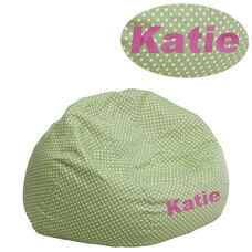 Personalized Small Green Dot Bean Bag Chair for Kids and Teens