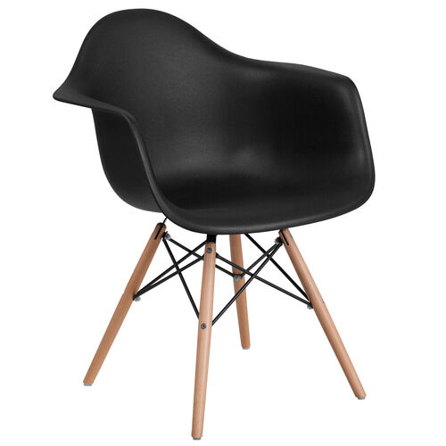 Our Alonza Series Black Plastic Chair with Wooden Legs is on sale now.