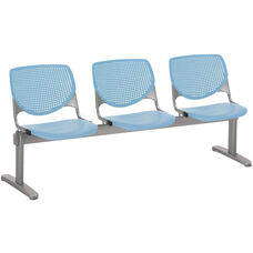 2300 KOOL Series Beam Seating with 3 Poly Perforated Back and Seats with Silver Frame - Sky Blue