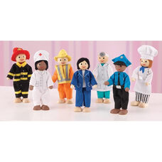 Seven Wooden Dolls Play Set - Professional and Career Role Models