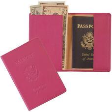 RFID Blocking Debossed Passport Jacket - Top Grain Nappa Leather - Wildberry