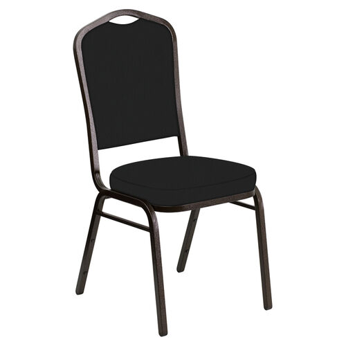 Our Embroidered Crown Back Banquet Chair in E-Z Matrid Black Vinyl - Gold Vein Frame is on sale now.