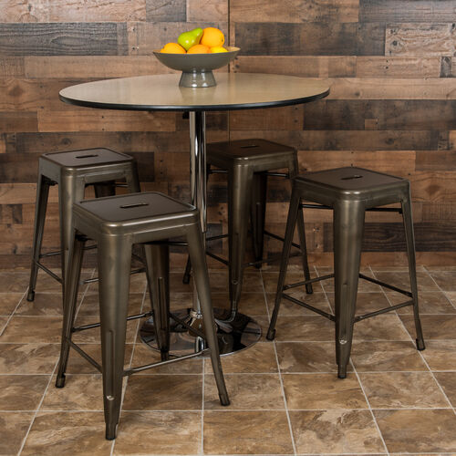 """Our 24"""" High Metal Counter-Height, Indoor Bar Stool in Gun Metal Gray - Stackable Set of 4 is on sale now."""