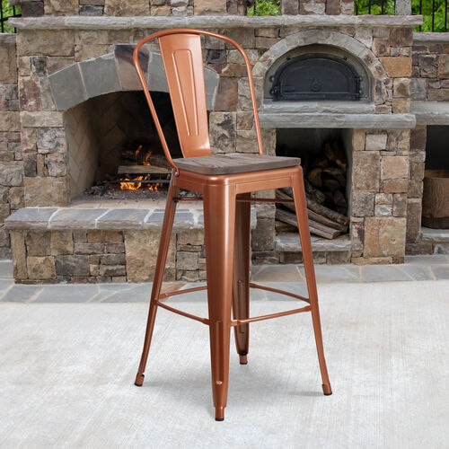 "Our 30"" High Metal Barstool with Back and Wood Seat is on sale now."