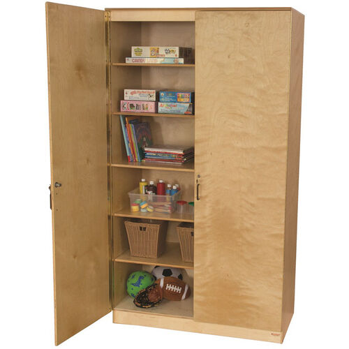 Our Wooden Space Saving Locking Resource Cabinet with 5 Shelves - 47