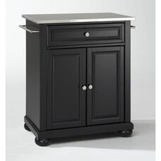 Stainless Steel Top Portable Kitchen Island with Alexandria Feet - Black Finish