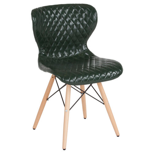 Our Riverside Contemporary Upholstered Chair with Wooden Legs in Green Vinyl is on sale now.