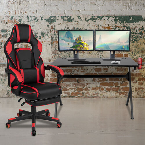 BlackArc Black Gaming Desk with Cup Holder/Headphone Hook/2 Wire Management Holes & Red Reclining Back/Arms Gaming Chair with Footrest
