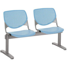 2300 KOOL Series Beam Seating with 2 Poly Perforated Back and Seats with Silver Frame - Sky Blue