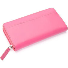 RFID Blocking Fan Wallet - Genuine Leather - Wildberry
