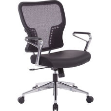 Space Air Grid Back and Padded Bonded Leather Seat Chair with Polished Aluminum Base and Arms