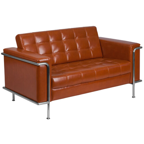 Our HERCULES Lesley Series Contemporary Cognac Leather Loveseat with Encasing Frame is on sale now.