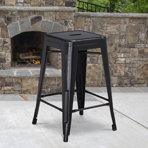 """Commercial Grade 24"""" High Backless Distressed Metal Indoor-Outdoor Counter Height Stool"""