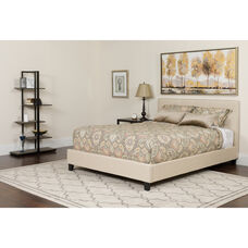 Chelsea Full Size Upholstered Platform Bed in Beige Fabric with Pocket Spring Mattress