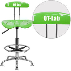 Personalized Vibrant Apple Green and Chrome Drafting Stool with Tractor Seat