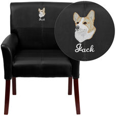 Embroidered Black Leather Executive Side Reception Chair with Mahogany Legs