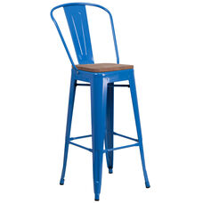 "30"" High Blue Metal Barstool with Back and Wood Seat"
