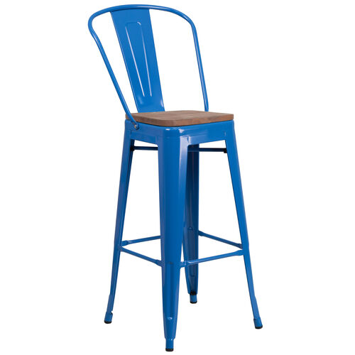 "Our 30"" High Blue Metal Barstool with Back and Wood Seat is on sale now."