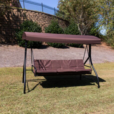 3-Seat Outdoor Steel Converting Patio Swing Canopy Hammock with Cushions / Outdoor Swing Bed (Brown)