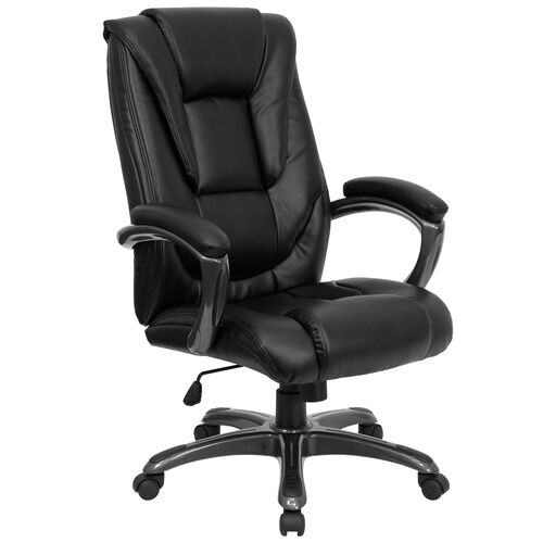 Our High Back Black Leather Layered Upholstered Executive Swivel Ergonomic Office Chair with Smoke Metal Base and Arms is on sale now.