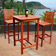 Malibu 3 Piece Outdoor Bar Set with Bar Table and 2 Ladder Back Bar Chairs