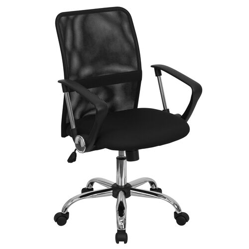 Our Mid-Back Black Mesh Swivel Task Office Chair with Lumbar Support Band and Arms is on sale now.