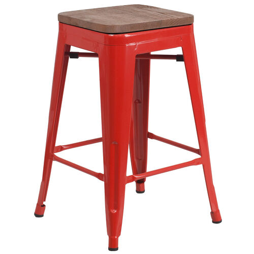 """Our 24"""" High Backless Red Metal Counter Height Stool with Square Wood Seat is on sale now."""