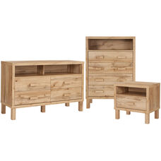 Heritage Collection 3 Piece Dresser, Chest of Drawers and Nightstand Set in Rustic Oak Finish