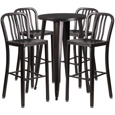 "Commercial Grade 24"" Round Black-Antique Gold Metal Indoor-Outdoor Bar Table Set with 4 Vertical Slat Back Stools"