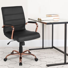 Mid-Back Black LeatherSoft Executive Swivel Office Chair with Rose Gold Frame and Arms