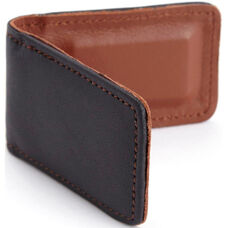 Magnetic Money Clip - Top Grain Nappa Leather - Black and Tan
