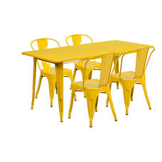 """Commercial Grade 31.5"""" x 63"""" Rectangular Yellow Metal Indoor-Outdoor Table Set with 4 Stack Chairs"""