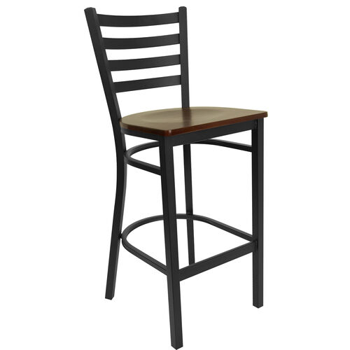 Our HERCULES Series Black Ladder Back Metal Restaurant Barstool - Mahogany Wood Seat is on sale now.