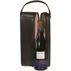 Single Wine Presentation Case with Stainless Steel Corkscrew - Faux Leather - Black