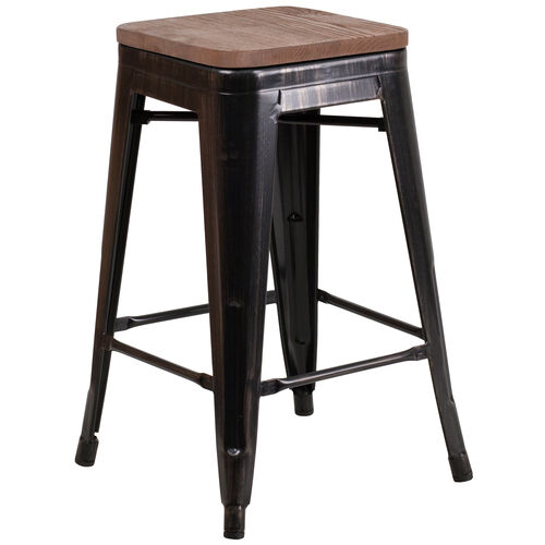 """Our 24"""" High Backless Black-Antique Gold Metal Counter Height Stool with Square Wood Seat is on sale now."""