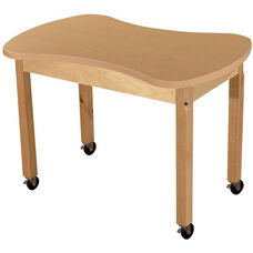 Mobile Synergy Classroom High Pressure Laminate Desk with Hardwood Legs - 36