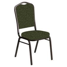 Crown Back Banquet Chair in Jasmine Fern Fabric - Gold Vein Frame