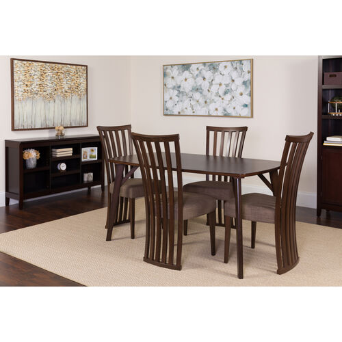 Our Addington 5 Piece Espresso Wood Dining Table Set with Dramatic Rail Back Design Wood Dining Chairs - Padded Seats is on sale now.