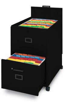 Mobilizers™ Mobile File with Lid and Drawer - Black