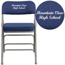 Embroidered HERCULES Series Premium Curved Triple Braced & Double-Hinged Navy Fabric Metal Folding Chair