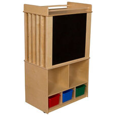 Wooden Store-It-All Mobile Teaching Center with 3 Assorted Plastic Storage Trays - 30