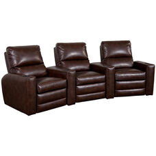 Manor Three Seater Home Theater - Wedge Arm in Bonded Leather