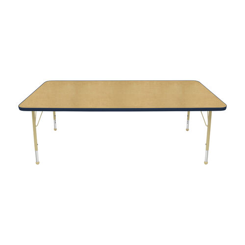 Our Adjustable Standard Height Laminate Top Rectangular Activity Table - Maple Top with Navy Edge and Legs - 72